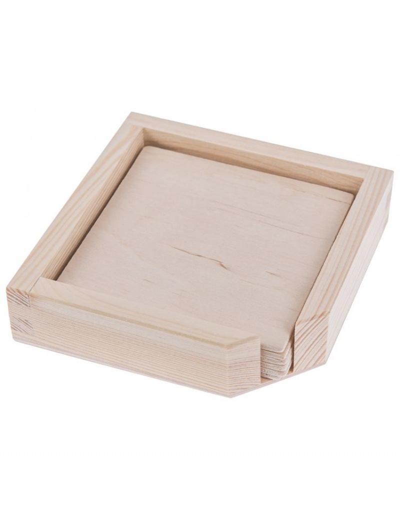 Dřevěná Krabička úložný Prostor Na Podtácky 6 Podtácků